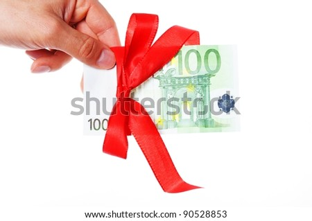 money present with hand isolated on white background - stock photo