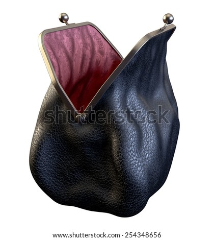Money Purse. Black Leather and Silk. Empty and Opened. Isolated on White - stock photo
