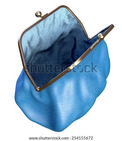 Money Purse. Blue Leather and Silk. Empty and Opened. Isolated on White  - stock photo