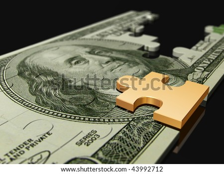 Money puzzle on a black background - stock photo