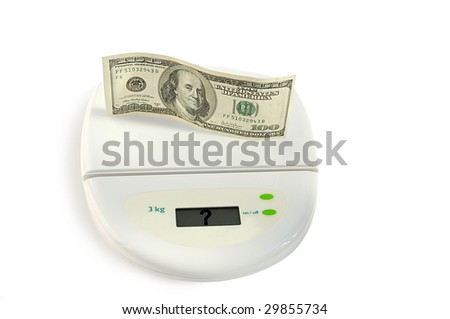 Money question. One hundred dollars on the scale isolated over white with clipping path.
