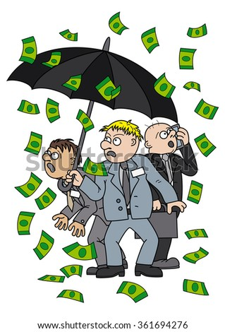 Money rain. Illustration frightened businessmen standing with an umbrella under the money rain