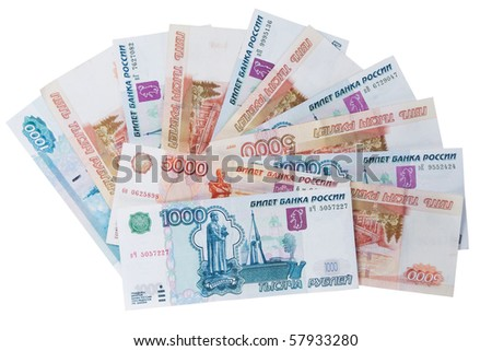 Money Russian banknotes dignity five thousand and  thousand rubles - stock photo