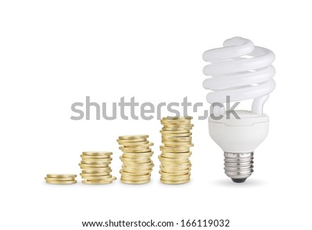 Money saved with energy saver bulb. Isolated on white background