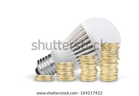 Money saved with LED bulb. Isolated on white background - stock photo