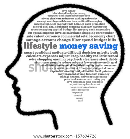 Money saving in head shape words cloud - stock photo