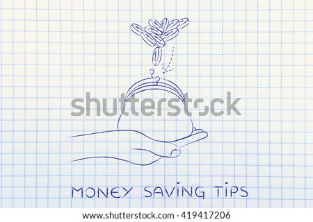 money saving tips: hand holding purse with coins dropped into it - stock photo