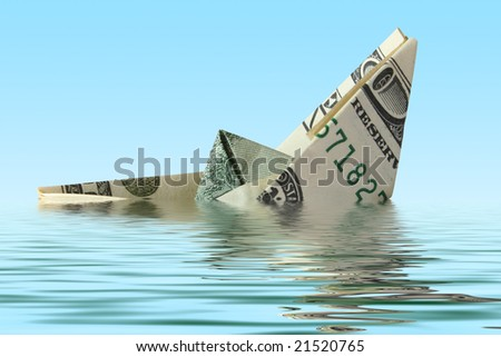 money ship wreck in water - stock photo