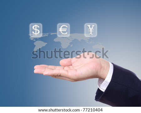 money sign on business man hand
