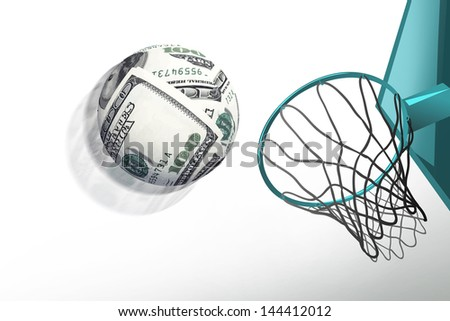 money sphere shoot in basketball hoop,make score,business concept