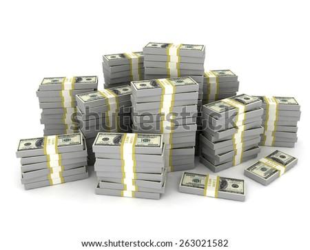 Money stack large amount of us dollars - stock photo