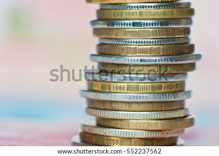 Money. Stack of rubles coins, close up