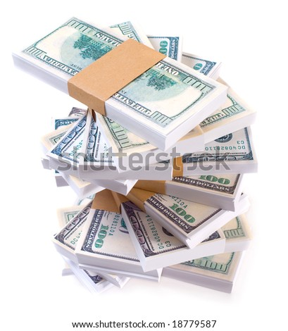 Money stack, paper dollars on white backgrounds