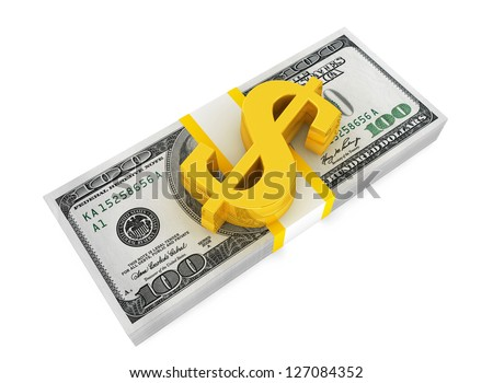 Money stack with gold dollar sign on a white background