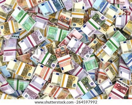 Money stacks. Euro bank notes. 3D illustration. - stock photo