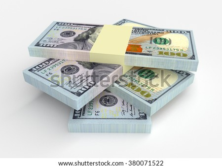 Money stacks from dollars isolated on white