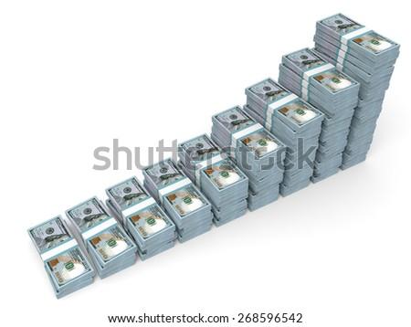 Money stacks graph. New one hundred dollars. 3D illustration. - stock photo