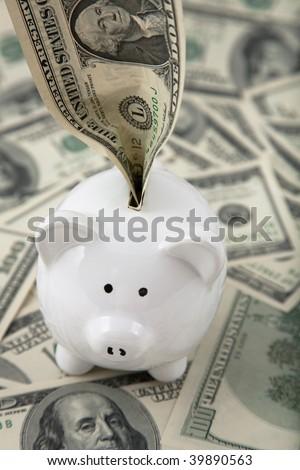 Money stuffed into cute piggy bank, on spread of cash - stock photo