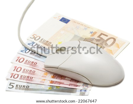 Money Surfing. Computer mouse over cash