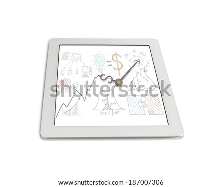 Money symbol clock hands with Statistics doodles on tablet isolated in white