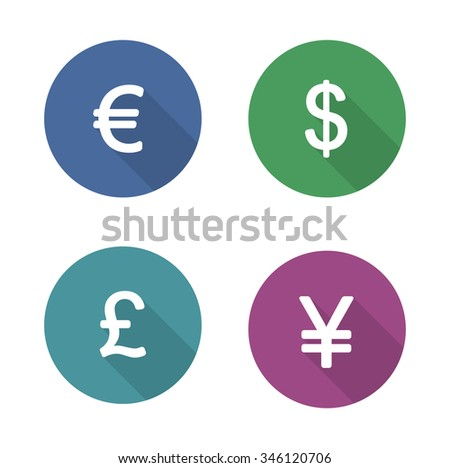 Money symbols flat design icons set. Currency long shadow silhouette signs. Usa dollar and Great Britain pound in color circles. Japanese yen and Europe euro badges. Raster economics infographic