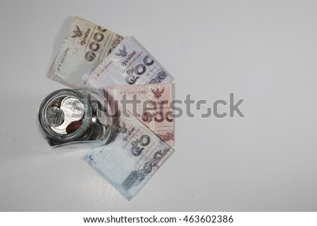 Money thai and jar concept on white backgrounds wallpaper content