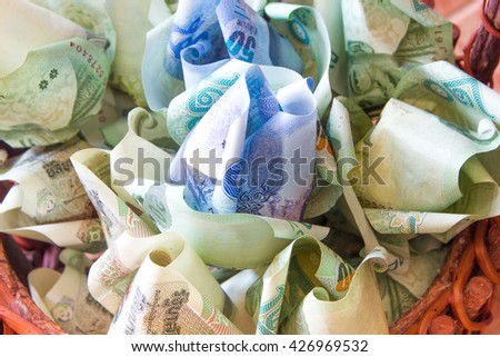 Money thai make to flower for congratulate