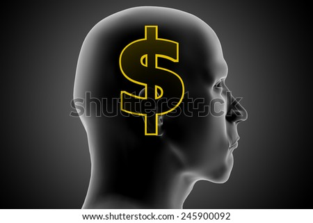 Money thoughts. An xRay of a man's head reveals his thoughts of money. - stock photo
