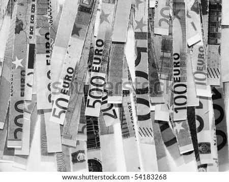 Money to burn - banknotes cut with a paper shredder