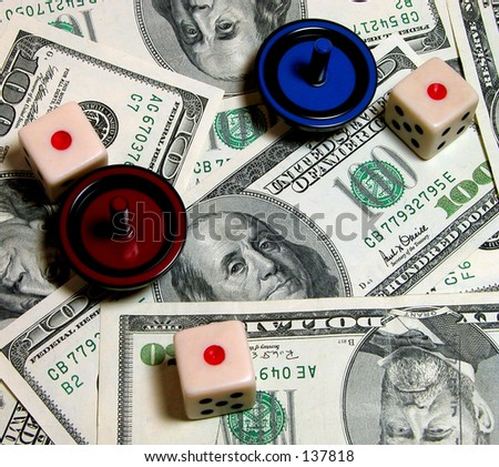Money,tops and dice... casino atmosphere-concept - stock photo