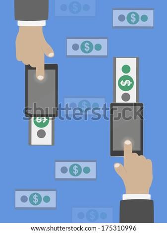 Money transfer in flat design. Raster version - stock photo