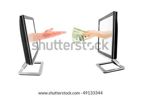 Money transfer isolated on white