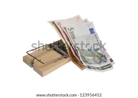 Money trap - used for catching naive people who want to earn easy money. It can be used to illustrate for all sorts of scams. From internet frauds to fake season discounts. Clipping path included. - stock photo