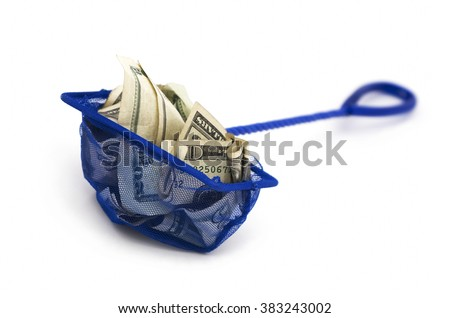 Money trapped by a fishing net. Selective focus - stock photo