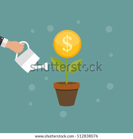Money Tree, Financial Growth Flat Concept  Illustration