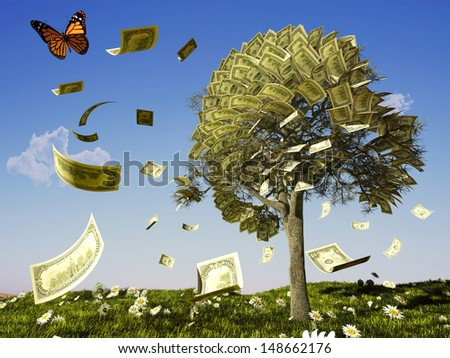 Money tree on grass with daisies. - stock photo