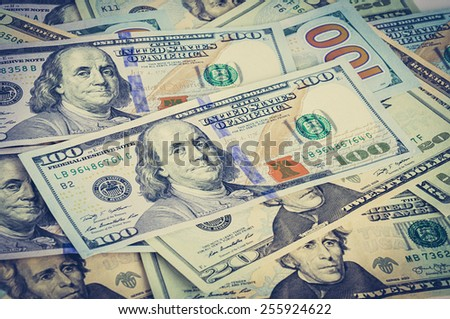 Money - US dollar bills in vintage (retro) style color effect - stock photo