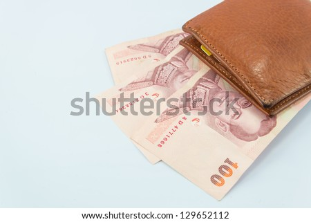 Money&wallet on white backgrounds. - stock photo