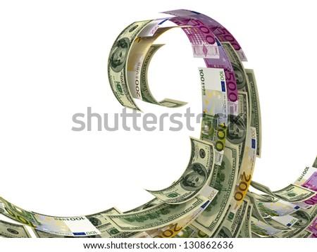 Money wave isolated on white - stock photo