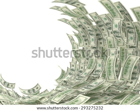 Money wave isolated on white - stock photo