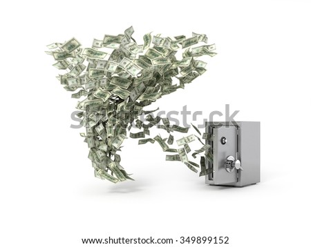 Money whirlwind take dollar banknotes from the safe. Concept of loosing capital - stock photo