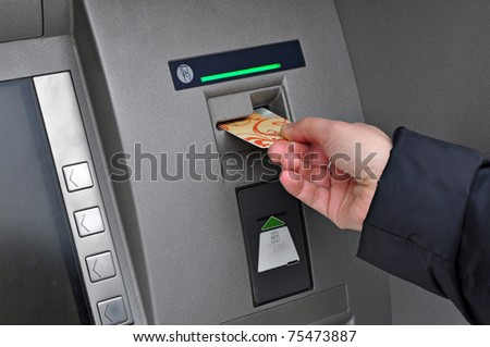Money withdrawal ATM, automatic bank machine, account banking - stock photo