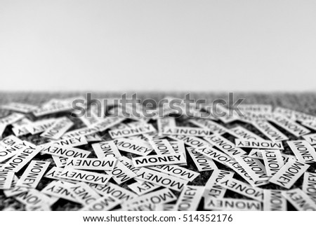 Money wording on a rough surface. It can be used to promote savings, banking, all kinds of financial services.