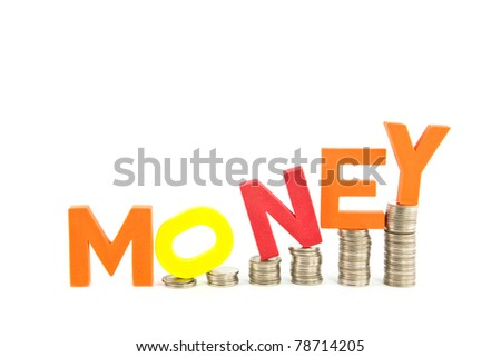 Money wording on coins stack, isolate on white background - stock photo