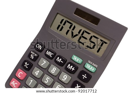 money written on display of an old calculator on white background in perspective - stock photo