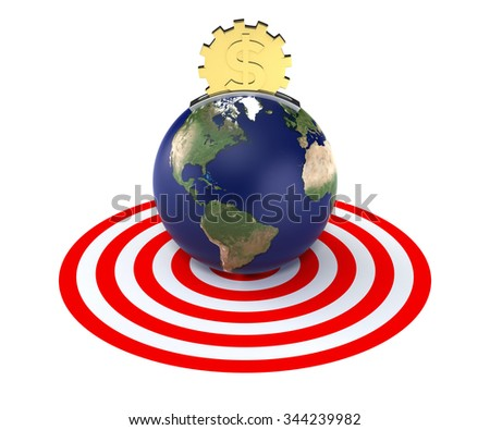 Moneybox in the Form of the Earth and Golden Dollar Coin - stock photo