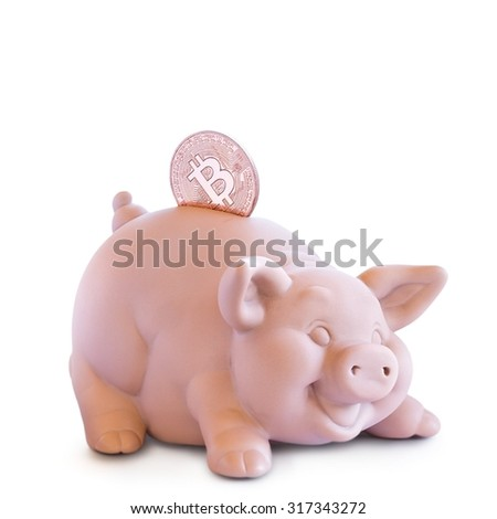 Moneybox. Piggy bank with one golden Bitcoin (new virtual money ) on a white background . - stock photo