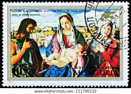 "MONGOLIA - CIRCA 1972:  A stamp printed in Mongolia shows a painting ""The Blessed Virgin with the Child"", by Giovanni Bellini, circa 1972."