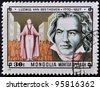 MONGOLIA - CIRCA 1981: A stamp printed in Mongolia shows image of the famous German composer Ludwig van Beethoven,  circa 1981 - stock photo