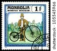 MONGOLIA - CIRCA 1982: A stamp  printed  in Mongolia shows  old-time bicycle  1878,  series  Historic  bicycle,  circa 1982 - stock photo
